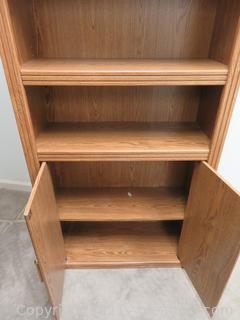 """72"""" Tall 5-Shelf Oak Finish Bookcase"""