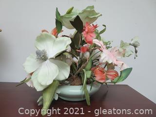 """Designer 16"""" Mixed Silk Flower Arrangement – Coral and Light Green"""
