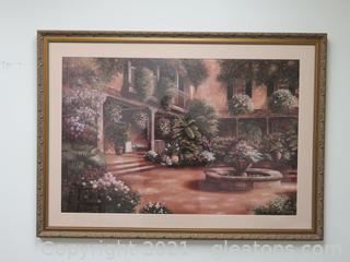 Lush Greenery in B. Brown Framed Watercolor