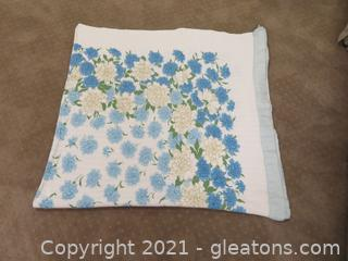 Vintage Waffle Weave Blanket with Blue Flowers and Satin Trim