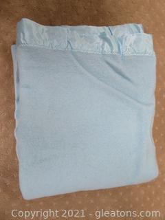 Blue Faribo 100% Pure Wool Blanket (B)