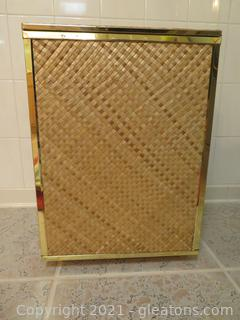 Lovely Wicker and Wood Laundry Hamper with Brass Trim