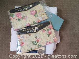 Fabulous Bundle: Twin Mattress Pad New, No Iron Flat and Fitted Sheets (Two Sets) and Bedspread