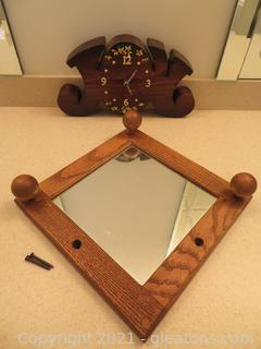 Timeless Wood Clock and Mirror