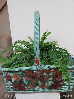 Charming Large Green Wicker Basket with Faux Fern in Pot