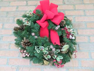 "19"" Christmas Wreath With Holly, Berries, and Red Bow"