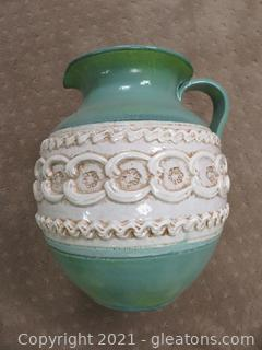 Italian Art Pottery Pitcher With Gorgeous Design – Green and Beige