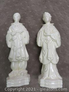 Two Vintage Handmade Porcelain Figurine Statues , Man and Woman , Off White Japan/China
