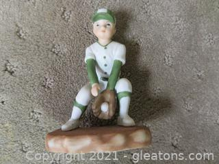 Vintage Enesco Boy Playing Baseball Ceramic Figurine – 1983