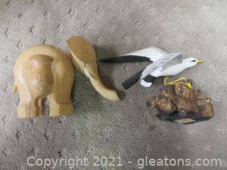 Hand Carved Wood Elephant Figurine Doll House Wild Life Collectible and Hand Carved Seagull on Wood