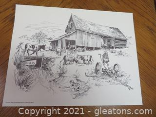 John Kollock- Four Grizzard Advertising Rural Georgia Scenes Sketches