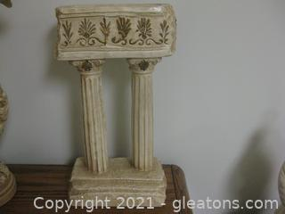 Vintage Alexander Backer Co. Chalkware Roman Columns Sculpture