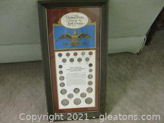 Framed Set of United States Coins of the 20th Century