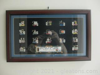 """17 Days to Remember"" Atlanta 1996 Olympic Games Framed Pin Set"
