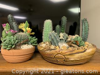 Lush Set of Two Faux Succulents and Cactus Terrariums