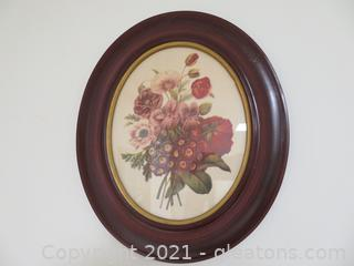Vintage Oval Framed Flower Print with Glass