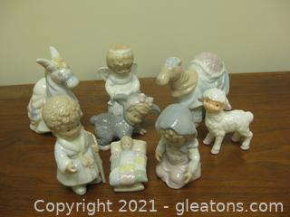Sweet Glazed Porcelain Nativity Set by Cosmos Ceramics 1990's