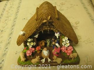 Vintage Handmade nativity Scene From Colombia