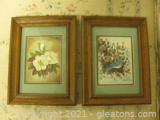 Beautifully Framed Pair of Colorful Pen and Ink Stillives