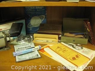 Valuable Vintage Office Supplies and a Glass Newspaper Themed Supply Plate
