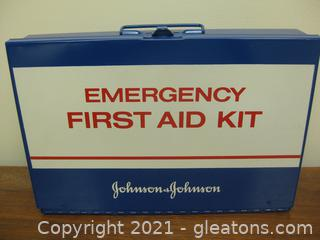 Johnson and Johnson Vintage Metal Emergency First Aid Kit