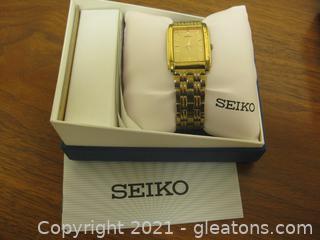 Men's Gold Seiko Watch Circa 1987