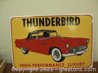 Metal Advertising Sign for an Older Thunderbird