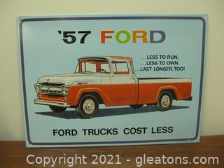 Metal Sign Based on A Ford 157 Ford Truck Ad
