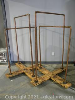 2 Industrial Copper Pipe Clothing Racks