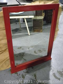 Red Framed Mirror