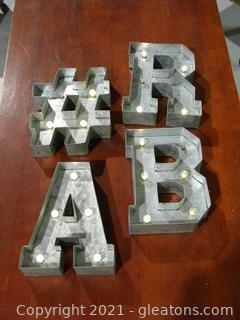 Metal Marquee Letters, Set of 4