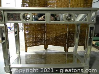 Brushed Silver & Mirror Console Table