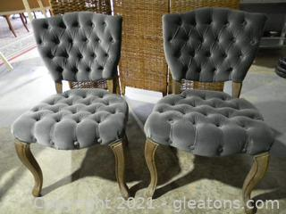 Lot of Grey Velvet Shield Back Chairs.