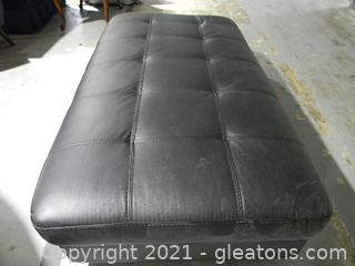 Black Oversized Faux Leather Rectangular Ottoman.