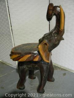 Wood Carved Elephant Side Table/Stool