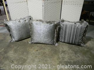 Lot of 3 Silver Toned Accent Pillows