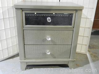 Three Drawer End Table A with Mirrored Glass and Silver Wood