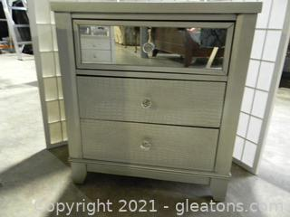 Three Drawer End Table B With Mirrored Glass and Silver Wood