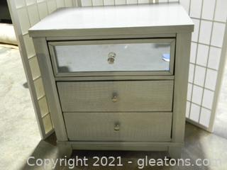 Three Drawer End Table C with Mirrored Glass and Silver Wood