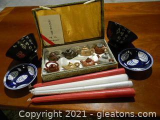 Miniature Asian Clay Tea Pots, Asian Bowls, Fish Saucers, 4 Candles