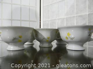 5 Miniature Vintage Tea Cups, Flower Bowl, Mikasa Picture Frame, Happy Anniversary Glass