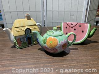 Lot of 3 Spring Time Tea Pots