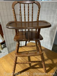 Old Spindle Oak High Chair