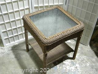 Glass Top Wicker Patio Table