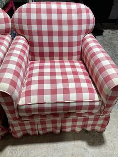 Red/White Checked, Rolled Arm, Arm Chair (A)