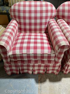 Red/White Checked ,Rolled Arm, Arm Chair