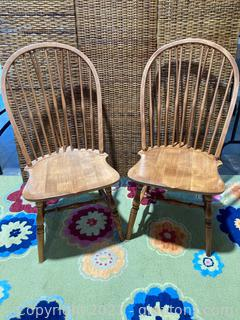 2 Windsor Style Back Dining Chairs