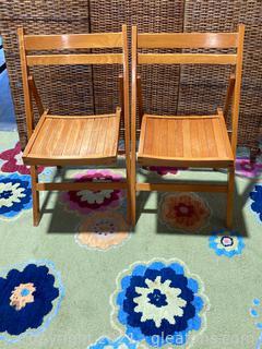 2 George Wood Slat Folding Chairs