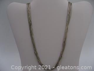 Multi-Strand Liquid Silver Necklace