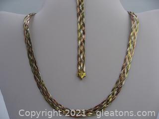 Tri-Color Woven Necklace and Bracelet Set